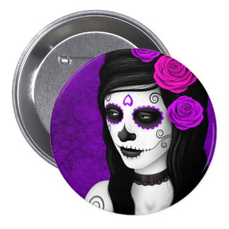 Day of the Dead Girl with Purple Roses Button