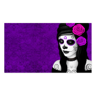 Day of the Dead Girl with Purple Roses Business Card Templates
