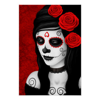 Day of the Dead Girl with Red Roses Poster