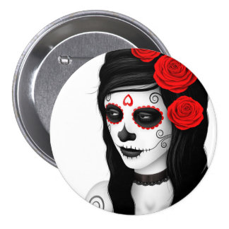 Day of the Dead Girl with Roses White Pin