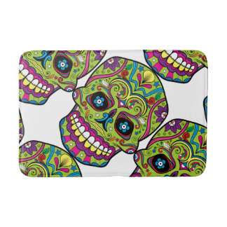 Day of the Dead Green Skull Bath Mat