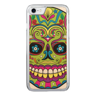 Day of the Dead Green Skull Carved iPhone 8/7 Case