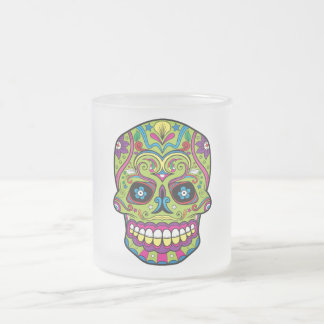 Day of the Dead Green Skull Frosted Glass Coffee Mug