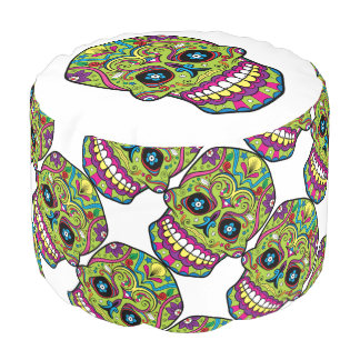 Day of the Dead Green Skull Pouf