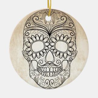 Day Of The Dead Grungy Skull Ceramic Ornament