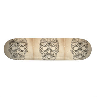 Day Of The Dead Grungy Skull Skate Deck