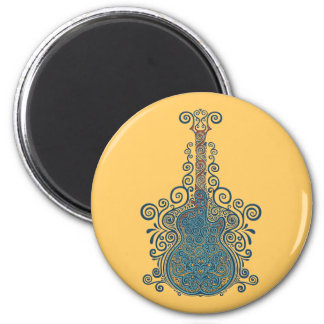 Day of the Dead Guitar 6 Cm Round Magnet