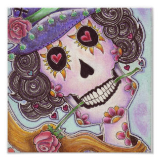 """Day Of The Dead """"Lady of the Roses"""" Poster"""
