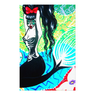 Day of the Dead Mermaid Art Custom Stationery