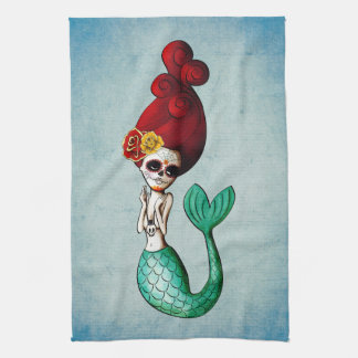 Day of The Dead Mermaid Tea Towel
