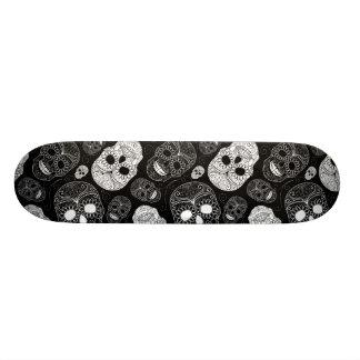 Day of the Dead Mosaic Art Black White Skateboard Deck