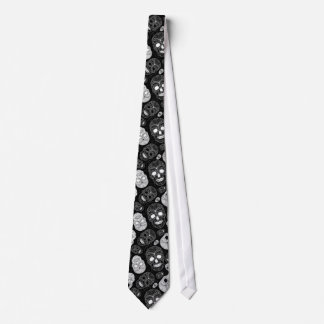 Day of the Dead Mosaic Art Black & White Tie