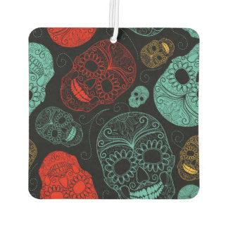 Day of the Dead Mosaic Art Red & Blue Car Air Freshener