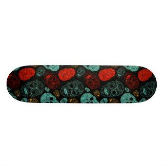 Day of the Dead Mosaic Art Red Blue Custom Skate Board