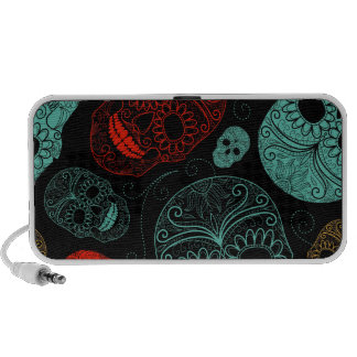 Day of the Dead Mosaic Art Red Blue Portable Speaker
