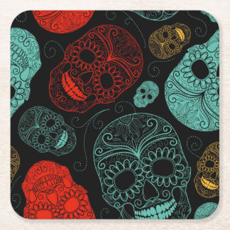 Day of the Dead Mosaic Art Red & Blue Square Paper Coaster