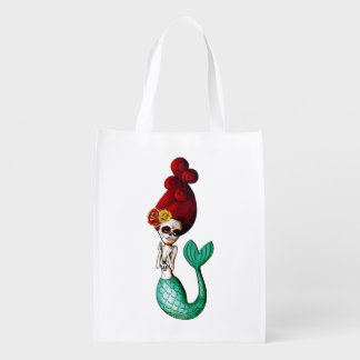Day of The Dead Old School Cute Mermaid Reusable Grocery Bag