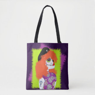 Day of The Dead Painted  Tattoo Red Haired Girl Tote Bag