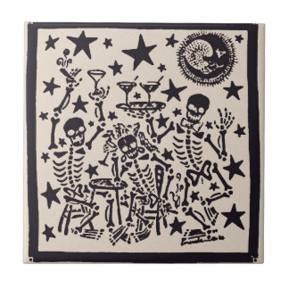 Day of the Dead Party/ Dia Muertos Fiesta Ceramic Tile