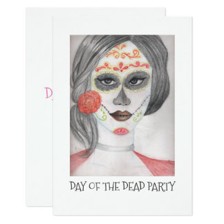 Day Of The Dead Party Initations Card