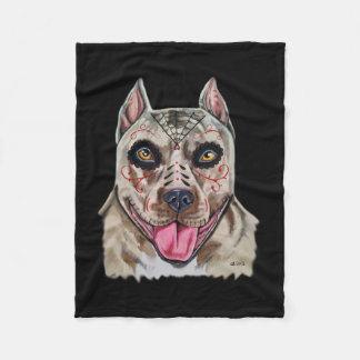 Day of the Dead Pitbull Fleece Blanket