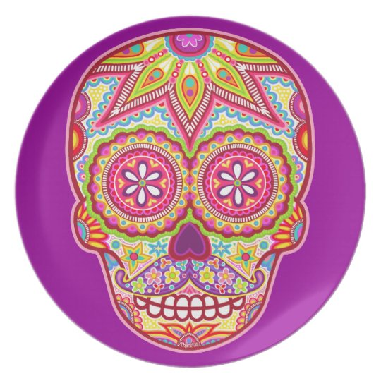 Day of the Dead Plate - Sugar Skull with Moustache