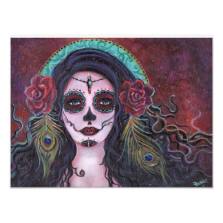 Day of the dead print with peacock feathers