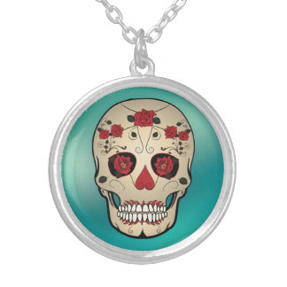 Day of the Dead Rose Skull Pendent Silver Plated Necklace
