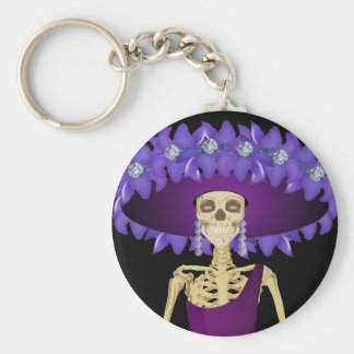 Day of the Dead Skeleton Doll in Purple Basic Round Button Key Ring