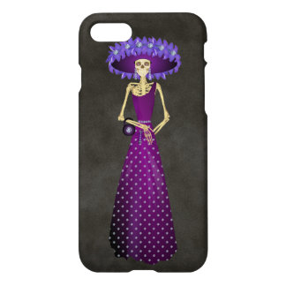 Day of the Dead Skeleton Doll in Purple iPhone 7 Case