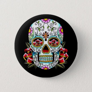 Day of the Dead Skull 6 Cm Round Badge