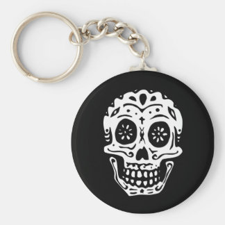 Day Of The Dead Skull-Black Basic Round Button Key Ring