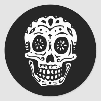 Day Of The Dead Skull-Black Classic Round Sticker
