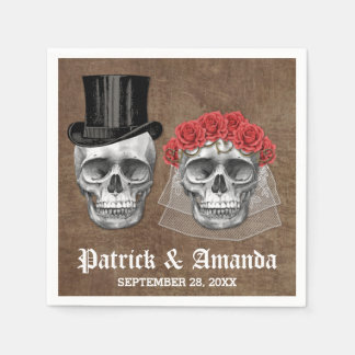Day of the Dead Skull Couple Goth Wedding Napkins Disposable Serviettes