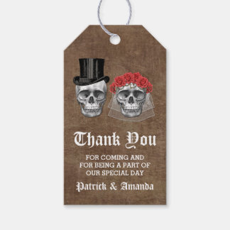 Day of the Dead Skull Couple Wedding Thank You Gift Tags