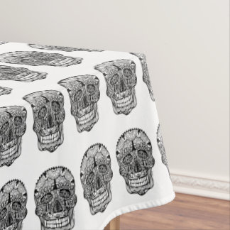 Day of the Dead Skull Doodle Art Tablecloth