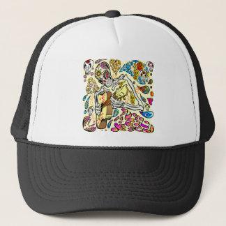 Day Of The Dead Skull Guitar Player Trucker Hat