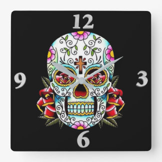 Day of the Dead Skull Square Wall Clock