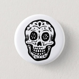 Day Of The Dead Skull-White 3 Cm Round Badge