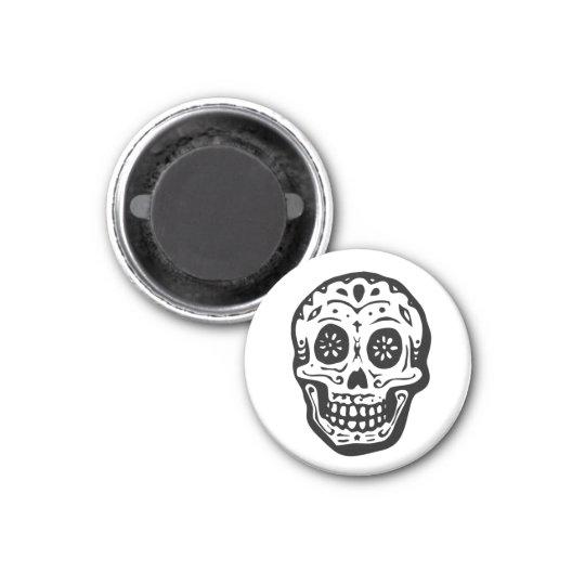 Day Of The Dead Skull-White Magnet