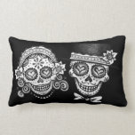 Day of the Dead Skulls Couple Pillow