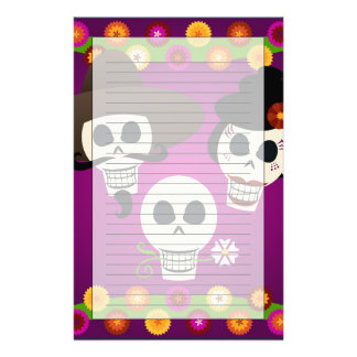 Day Of The Dead Skulls Personalized Stationery