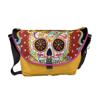 Day of the Dead Sugar Skull Art Messenger Bag