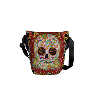 Day of the Dead Sugar Skull Art Mini Messenger Bag