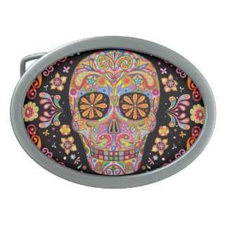 Day of the Dead Sugar Skull Belt Buckle