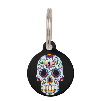 Day of the Dead Sugar Skull Blue Pet Name Tag