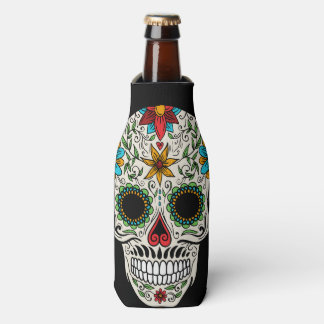 Day of the Dead Sugar Skull Bottle Cooler