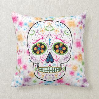 Day of the Dead Sugar Skull - Bright Multi Color Cushion