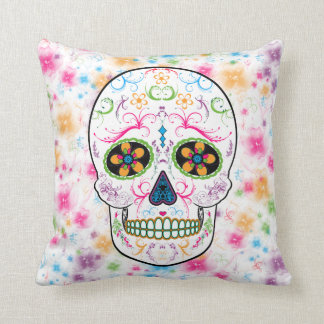 Day of the Dead Sugar Skull - Bright Multi Color Throw Pillow