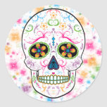 Day of the Dead Sugar Skull - Bright Multi Colour Round Sticker